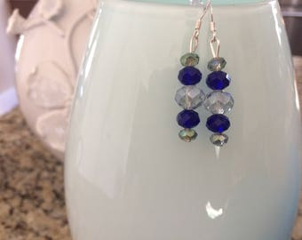 Dangling Earrings with Blue, Clear, Crystals with Silver Hooks