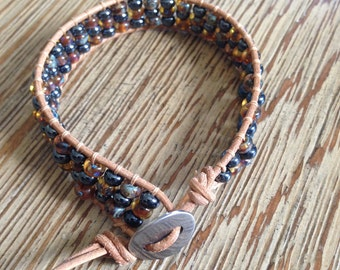 Leather wrap, beaded bracelet