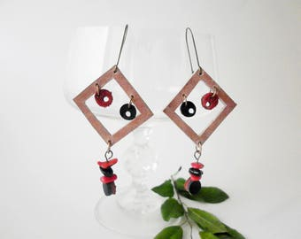 Retro disco style earrings, Long hanging earrings, woman hippie earrings, leather earrings, coral and onyx earrings, handmade earrings