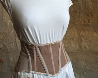 Small belt corseted denim beige