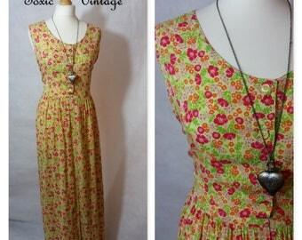 VINTAGE 1980s 1990s DITSY FLORAL Print Midi Dress, 16-18, Boho, Summer, Chic, Phoebe Buffay, Festival, Vacation, Holiday, Retro, Plus Size