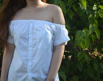 Off-shoulder White Shirt