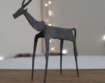 Modernist Style Folk Art Sculpture of a Tribal Cow in Wrought Iron