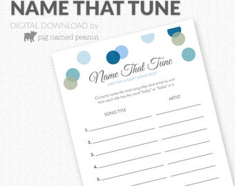 Name That Baby Tune Game, Baby Song Game, Blue Polka Dots, Boy Baby Shower Activity, Polka Dot Baby Shower Games – Instant Download