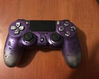 PS4 Controller - Custom Paint Job - Purple Splatter