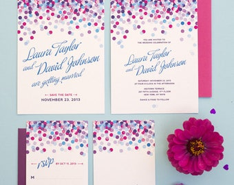 Fun Confetti Wedding Invitation Printable Set of 4