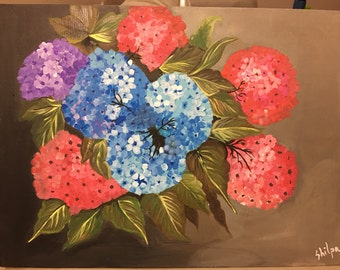 Acrylic Hand Painted FlowerBunch