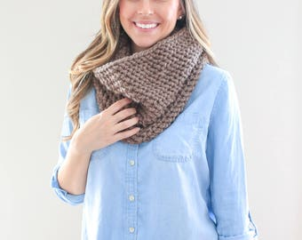 Chunky Knit, Infinity Cowl Scarf *The Savannah* in Camel
