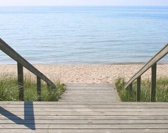 Stairs to the Beach; beach photography; fine art photography; wall art; Lake Michigan photography; Michigan photography; beach photo