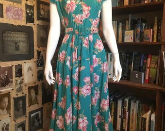 Vintage 1990s Teal floral dress with belt, sz. Medium