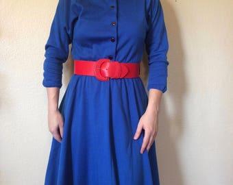 Vintage 1970s Royal Blue dress