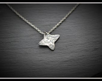 Engraved Butterfly Pendant - Silver Precious Metal Clay (PMC), Handmade, Necklace - (Product Code: ACM020-17)