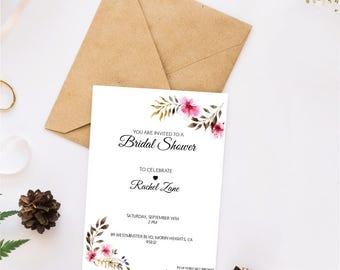 PRINTED Bridal Shower Invitations / Bridal Shower Invites / Personalized Bridal Shower Invitations