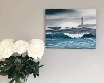 """Original Oil Painting Seacape with Lighthouse // """"Squally"""" 14 x 18"""" on Canvas"""