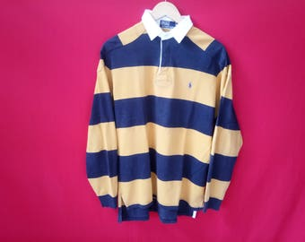 vintage polo ralph lauren rugby long sleeves medium mens shirt