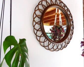 Large rattan mirror 57 cm, Sun, Wicker, vintage, 70s mirror mirror mirror mirror