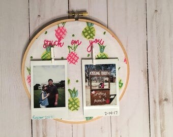 Polaroid Hoop Frame-Hand Embroidered. Picture Wall Hanging. Polaroid Holder. Dorm Decor Picture Holder.