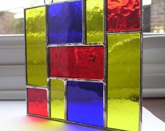 Abstract, Stained Glass, Suncatcher, Handmade in England