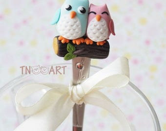 Charming Owls spoon, happy together, love, spoon with decor from polymer clay, sweet tasty tea spoon, handmade, polymer clay dessert spoon