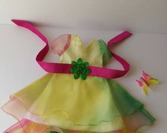 18 inch doll rainbow dress butterfly hair clip