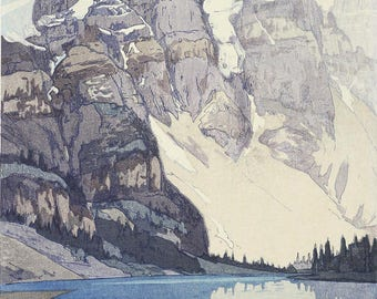 "Japanese Art Print ""Lake Moraine"" from the American Series by Yoshida Hiroshi, woodblock print reproduction, national park, North America"