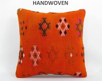 16x16 throw pillow decorative pillow kilim throw pillow cover boho throw pillow home decor AntiqueKilimPillows 000753