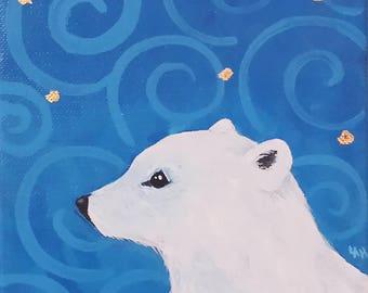 Polar Bear with Spiral Sky