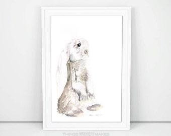Watercolor Long Eared Bunny Digital Download