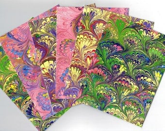 Hand Marbled Cards, Set of 6, Bouquet Pattern