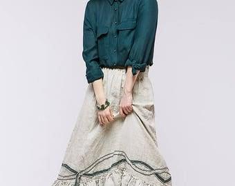 Boho pure linen skirt