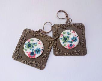 Embroidery earrings/Pastel flower earrings /Spring flower earrings/ Polymer Clay jewelry/Handmade jewelry / Gift for Her/Art Deco Earrings