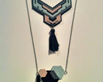 Plastron Pompom and Miyuki beads long...