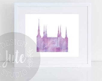 Washington DC LDS Temple Printable Art Instant Download Watercolor Print- PURPLE