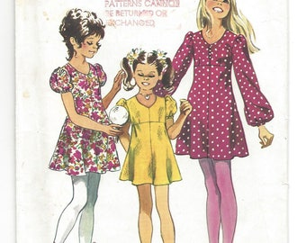 """Vintage 1971 Pattern.  Simplicity 9848  Girls Empire waist dress with long or short sleeves, retro, 70's fashion, Size 10, 28-1/2"""" chest"""