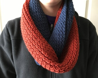 Handmade Red & Blue Knit Infinity Scarf