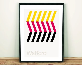 Watford FC, Football Art Print, Football Poster, Abstract, Minimal