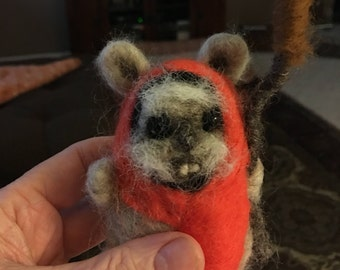 Ewok from Star Wars, Needle Felted , Made to order