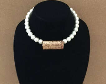 pearl and wine cork necklace