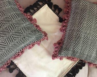 Pillows hand made with Guatemalan woven fabrics