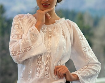 100% handmade hemstitch embroidery Romanian Blouse folk peasant ia bohemian top S, M and L size