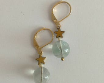 Stars and fluorite earrings