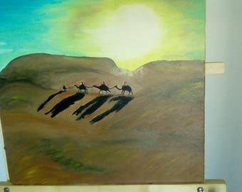 """Original Oil Painting """"Camels on the Road"""""""