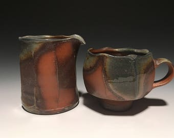 Wood Fired Creamer and Mug Set