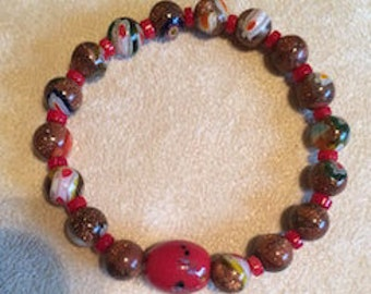 Red Goldstone and Coral Bracelet