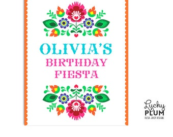Fiesta Welcome Sign / Tribal Flower Welcome Sign / Mexican Fiesta Welcome Sign / Papel Picado Welcome Sign / Folk Welcome Sign