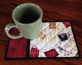 kits; Pair of fun coffee themed mug rugs