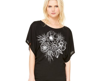 Bouquet tee, women's tee, modern floral, black and white, pretty top, casual top, dolman, flowy tee