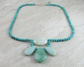 Turquoise, Aquamarine, Aventurine And Amazonite Gemstone Necklace