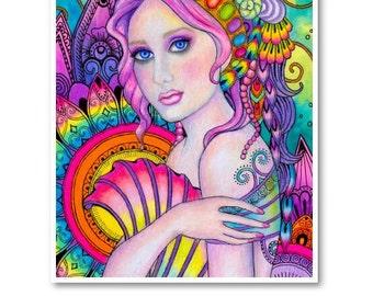 Signed 8 x 10 Print Mermaid Carousel Art Pink Nouveau Goddess Diva Mother Nature B. K . Lusk