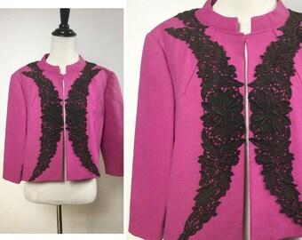 Magenta Bolero Jacket with Black Lace Appliqué - Pink-Purple Floral Lace Dress Jacket - 3/4 Sleeves, Mandarin Collar - Handmade Vintage 60s